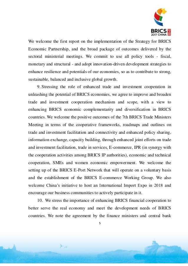 Brics 2017 Declaration