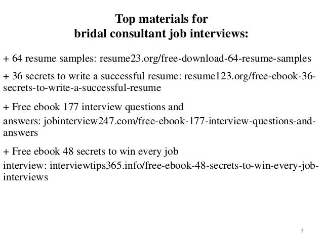 2 3 Top Materials For Bridal Consultant