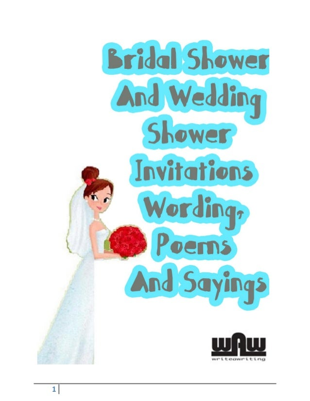 Bridal shower and wedding shower invitations wording poems and sayin