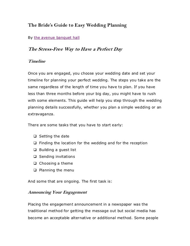 The Bride's Guide to Easy Wedding PlanningBy the avenue banquet hallThe Stress-Free Way to Have a Perfect DayTimelineOnce ...