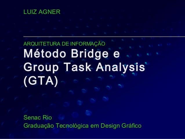Método Bridge e Group Task Analysis (GTA) Senac RioSenac Rio Graduação Tecnológica em Design GráficoGraduação Tecnológica ...