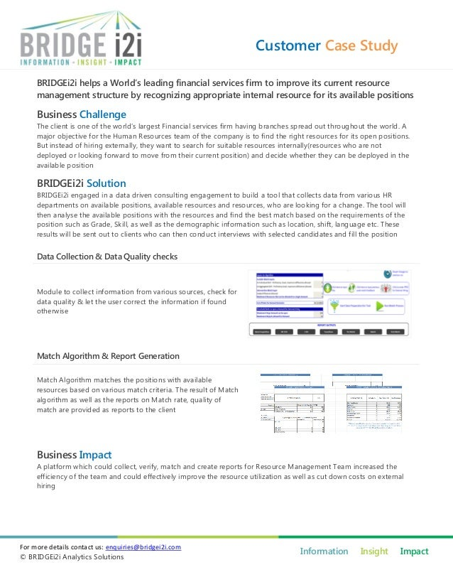 Customer Case Study BRIDGEi2i helps a World's leading financial services firm to improve its current resource management s...