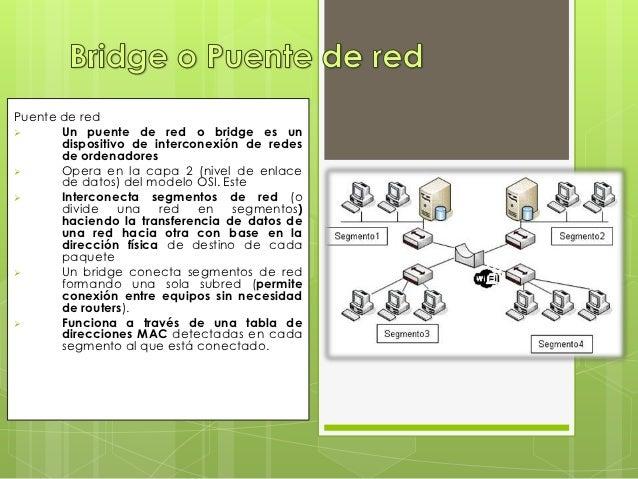 Puente de red      Un puente de red o bridge es un       dispositivo de interconexión de redes       de ordenadores     ...
