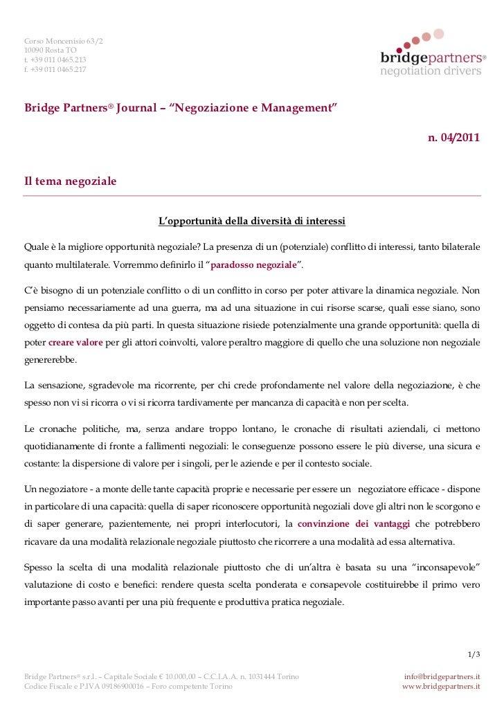 """Corso Moncenisio 63/210090 Rosta TOt. +39 011 0465.213f. +39 011 0465.217Bridge Partners® Journal – """"Negoziazione e Manage..."""