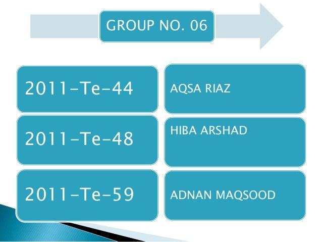 GROUP NO. 06 2011-Te-44 2011-Te-48 2011-Te-59 AQSA RIAZ HIBA ARSHAD ADNAN MAQSOOD
