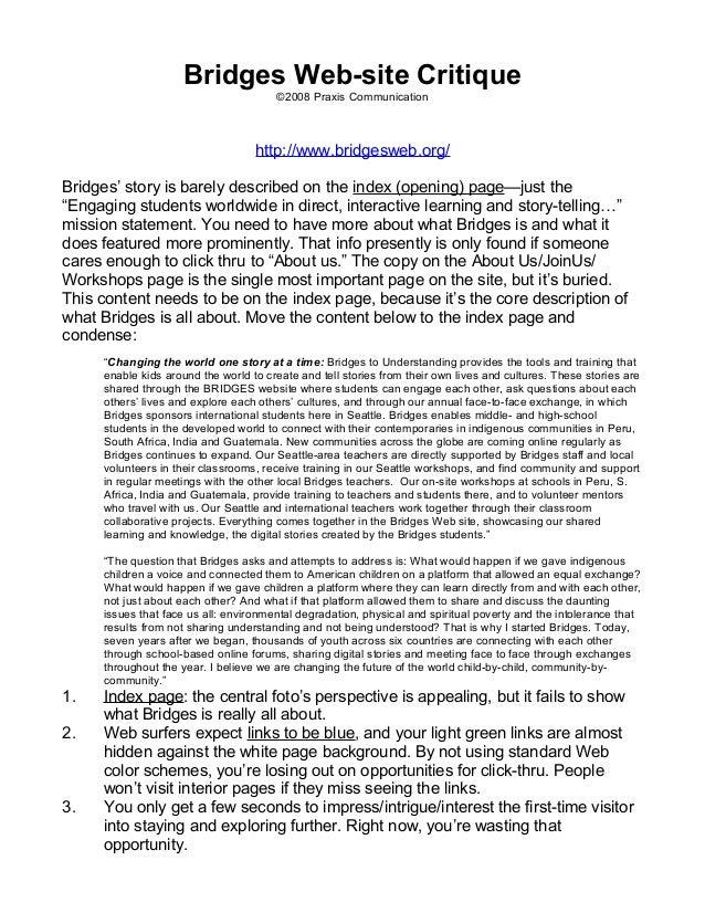 Bridges Web-site Critique                                       ©2008 Praxis Communication                                ...