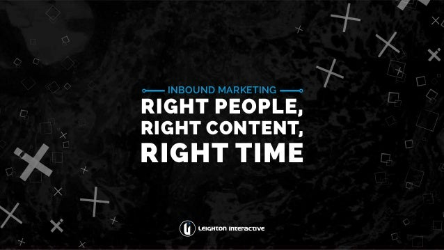 INBOUND MARKETING RIGHT PEOPLE, RIGHT CONTENT, RIGHT TIME