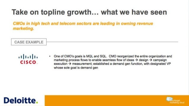 Take on topline growth… what we have seen CMOs in high tech and telecom sectors are leading in owning revenue marketing. C...