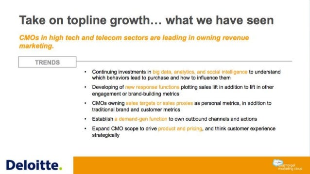 Take on topline growth… what we have seen CMOs in high tech and telecom sectors are leading in owning revenue marketing. T...