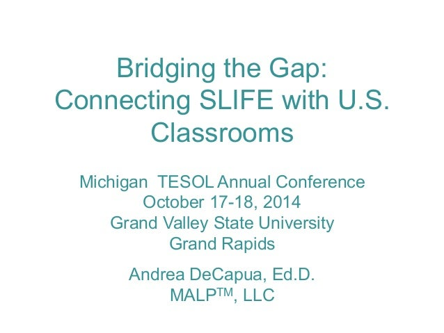 Bridging the Gap:  Connecting SLIFE with U.S.  Classrooms  Michigan TESOL Annual Conference  October 17-18, 2014  Grand Va...