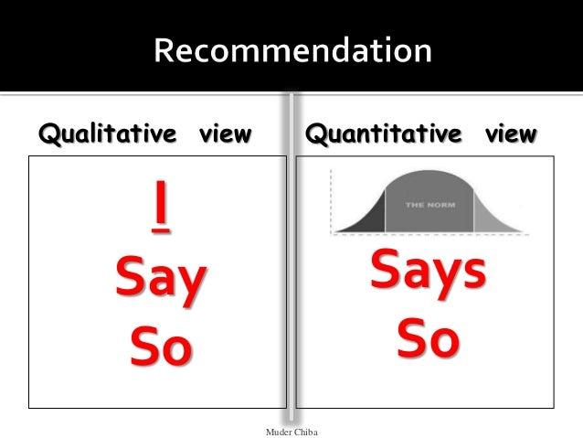 Qualitative view I Say So Quantitative view Norms Says So Muder Chiba
