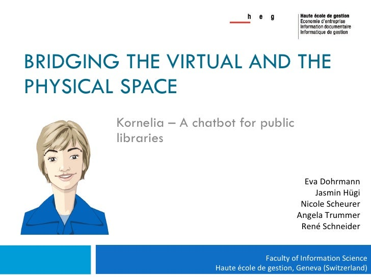 BRIDGING THE VIRTUAL AND THE PHYSICAL SPACE Kornelia – A chatbot for public libraries Eva Dohrmann Jasmin Hügi Nicole Sche...