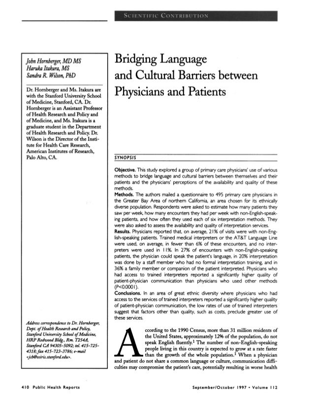 Bridgin language and cultural barriers between physicians
