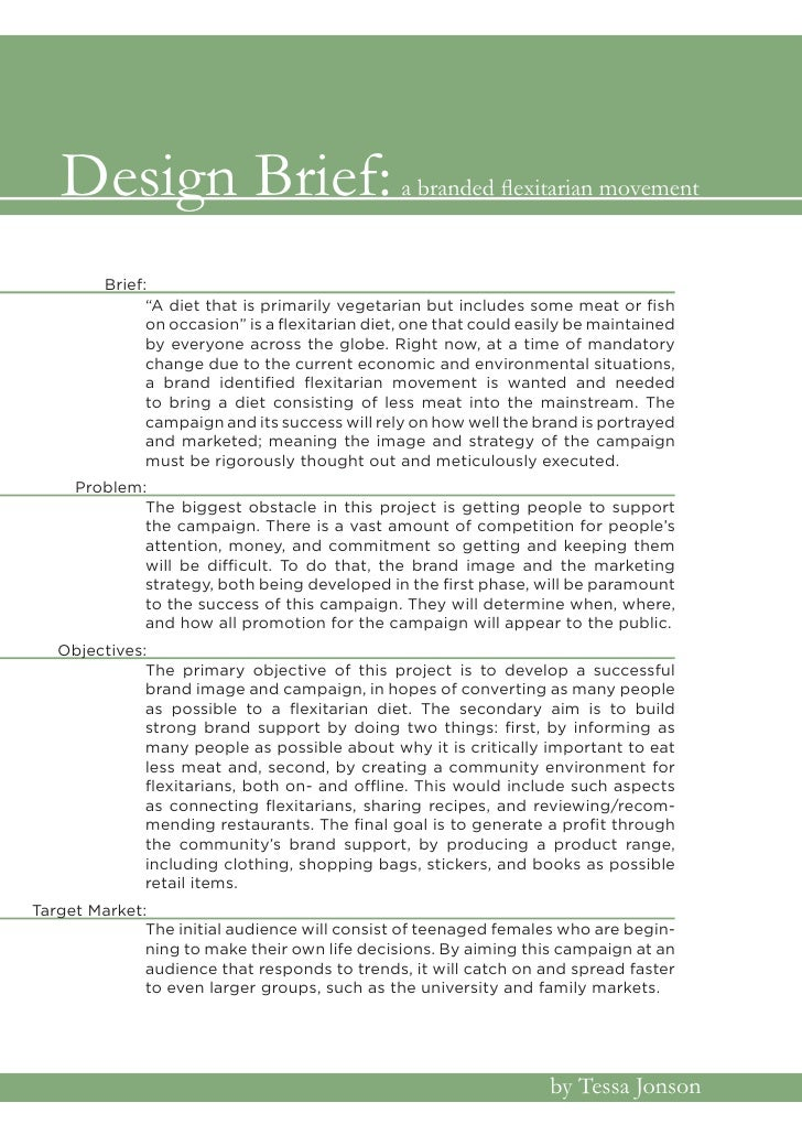 "Design Brief:                                 a branded flexitarian movement            Brief:                ""A diet that..."