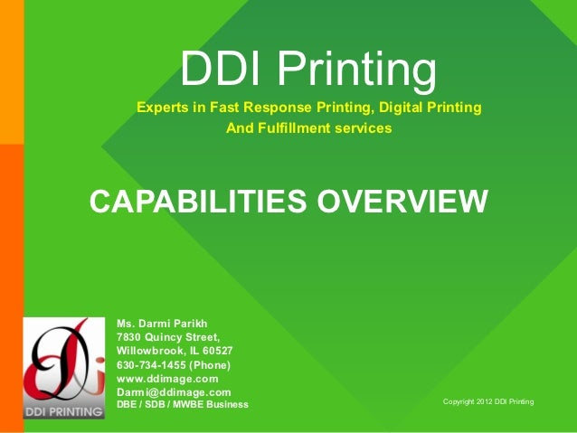 DDI Printing    Experts in Fast Response Printing, Digital Printing                 And Fulfillment servicesCAPABILITIES O...