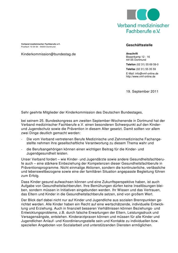 Verband medizinischer Fachberufe e.V.Postfach 10 04 64 ⋅ 44004 Dortmund                                                   ...