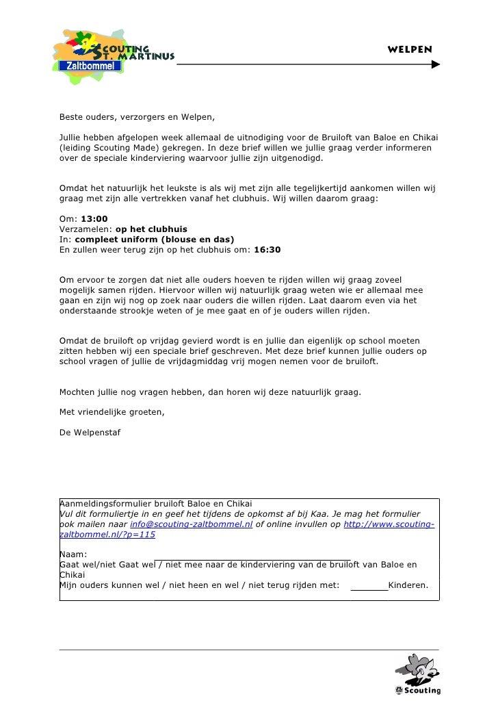 voorbeeldbrief uitnodiging Brief Uitnodiging Welpen Bruiloft Baloe en Chikai voorbeeldbrief uitnodiging