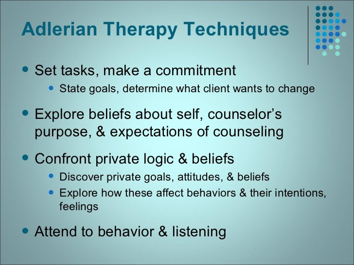 adlerian therapy strategies and also procedures