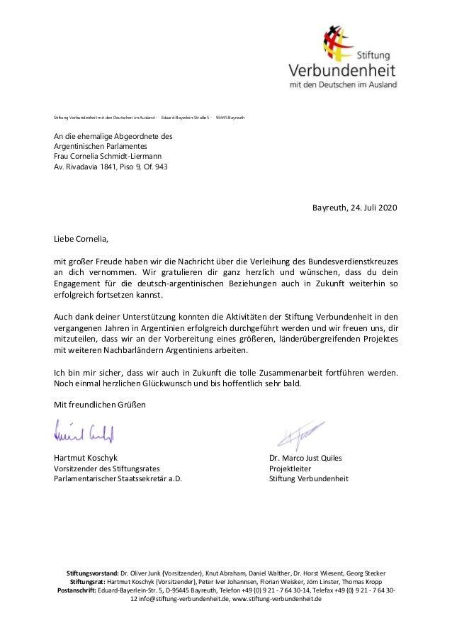 Stiftu Stift Postansc  Stiftung Verbun An die e Argentin Frau Cor Av. Rivad        LiebeCo  mitgroß an dich E...