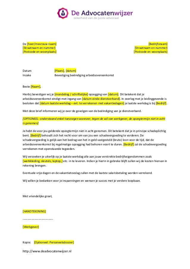 ontslagbrief bevestiging Brief bevestiging ontslag   De Advocatenwijzer ontslagbrief bevestiging