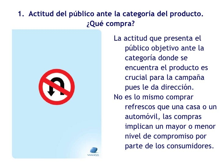 <ul><li>Actitud del público ante la categoría del producto. </li></ul><ul><li>¿Qué compra? </li></ul>La actitud que presen...