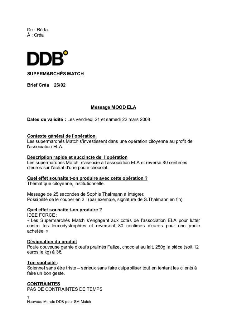 De:RédaÀ:CréaSUPERMARCHÉS MATCHBrief Créa   26/02                                Message MOOD ELADates de validité :...