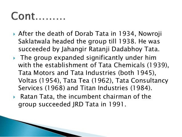 Different groups of  Tata  • Tata group encompasses seven  business sectors: communications  and information technology,  ...