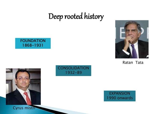 Deep rooted history  EXPANSION  1990 onwards  CONSOLIDATION  1932-89  FOUNDATION  1868-1931  Ratan Tata  Cyrus mistri