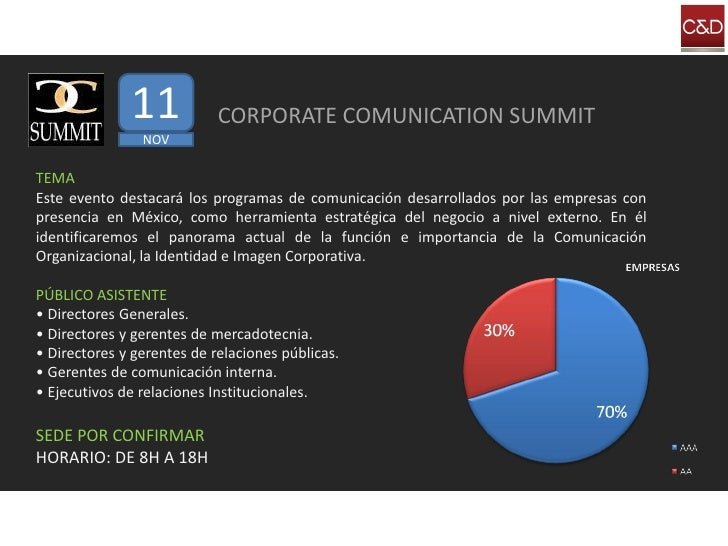 11            CORPORATE COMUNICATION SUMMIT                 NOV  TEMA Este evento destacará los programas de comunicación ...