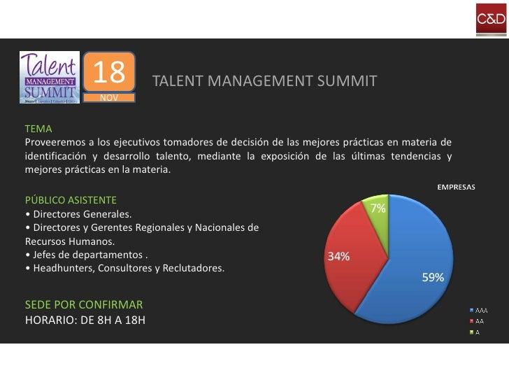 18           TALENT MANAGEMENT SUMMIT                NOV   TEMA Proveeremos a los ejecutivos tomadores de decisión de las ...