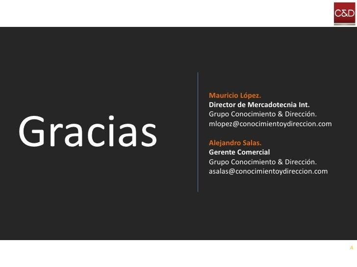 Mauricio López.           Director de Mercadotecnia Int.    Gracias           Grupo Conocimiento & Dirección.           ml...