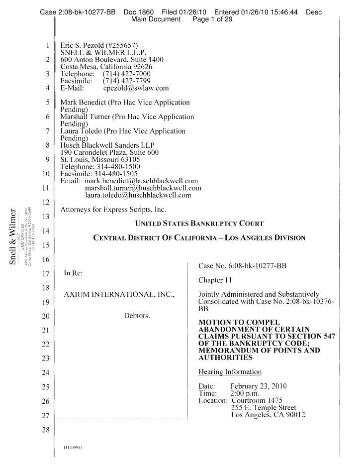 Case 2:08-bk-10277-BB     Doc 1860 Filed 01/26/10 Entered 01/26/10 15:46:44      Desc                                     ...