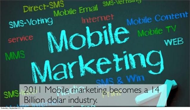 2011 Mobile marketing becomes a 14 Billion dolar industry. Saturday, September 21, 13