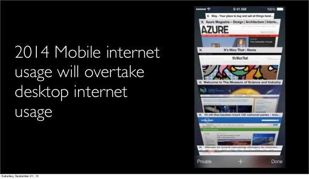 2014 Mobile internet usage will overtake desktop internet usage Saturday, September 21, 13