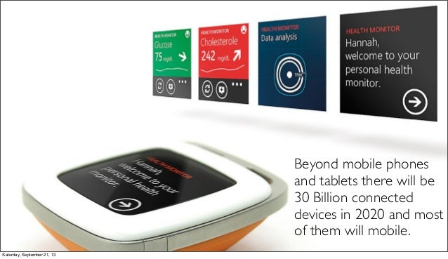 Beyond mobile phones and tablets there will be 30 Billion connected devices in 2020 and most of them will mobile. Saturday...