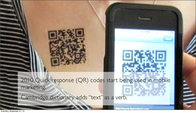 """2010 Quick response (QR) codes start being used in mobile marketing. Cambridge dictionary adds """"text"""" as a verb. Saturday,..."""
