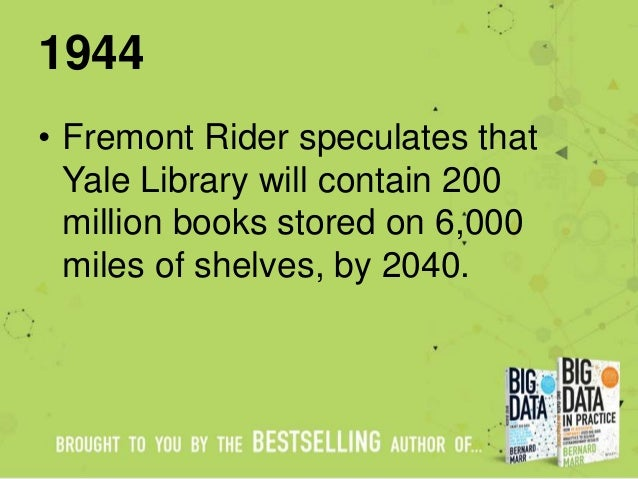 1944 • Fremont Rider speculates that Yale Library will contain 200 million books stored on 6,000 miles of shelves, by 2040.