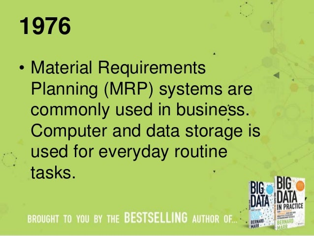 1976 • Material Requirements Planning (MRP) systems are commonly used in business. Computer and data storage is used for e...