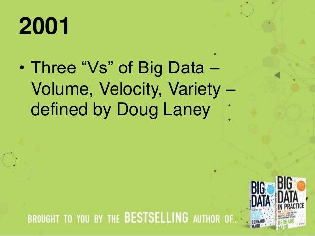 """2001 • Three """"Vs"""" of Big Data – Volume, Velocity, Variety – defined by Doug Laney"""
