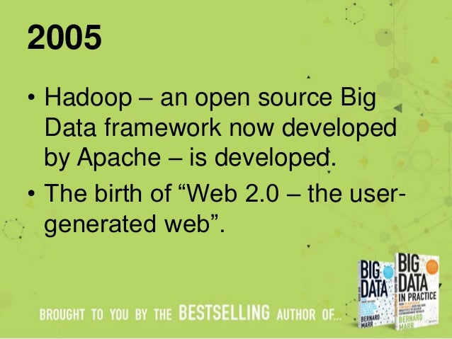 """2005 • Hadoop – an open source Big Data framework now developed by Apache – is developed. • The birth of """"Web 2.0 – the us..."""