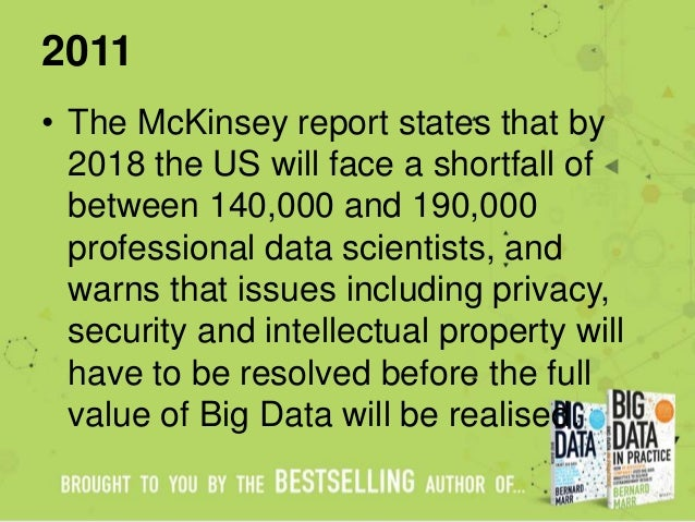 2011 • The McKinsey report states that by 2018 the US will face a shortfall of between 140,000 and 190,000 professional da...