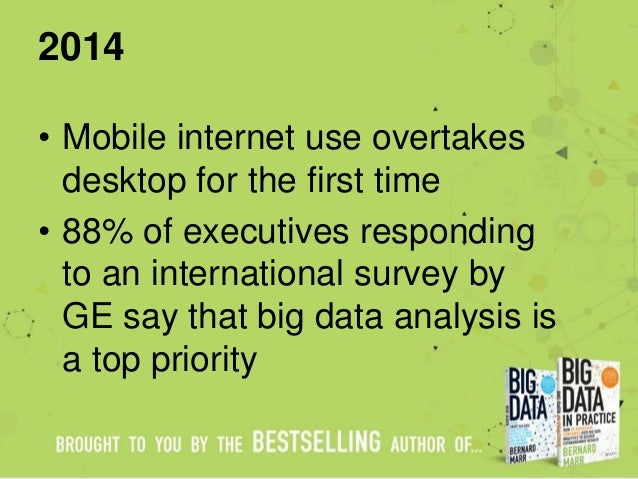 2014 • Mobile internet use overtakes desktop for the first time • 88% of executives responding to an international survey ...