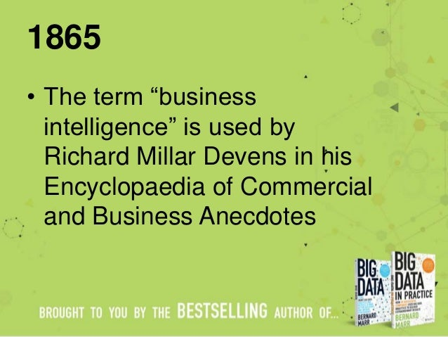 "1865 • The term ""business intelligence"" is used by Richard Millar Devens in his Encyclopaedia of Commercial and Business A..."
