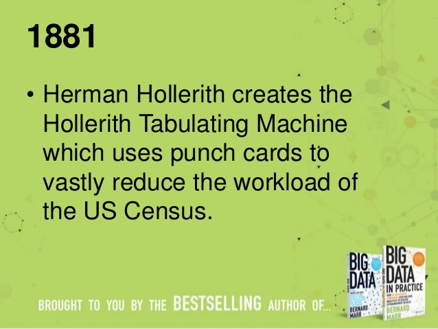 1881 • Herman Hollerith creates the Hollerith Tabulating Machine which uses punch cards to vastly reduce the workload of t...