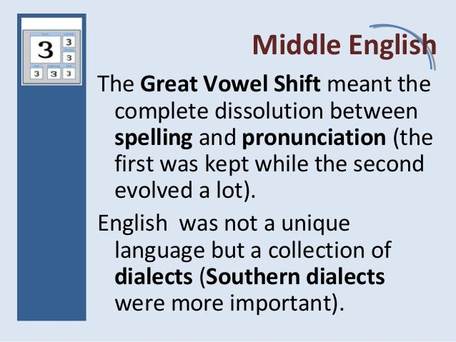 Middle English The Great Vowel Shift meant the complete dissolution between spelling and pronunciation (the first was kept...