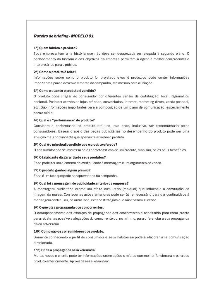 Modelos De Briefing By André Félix