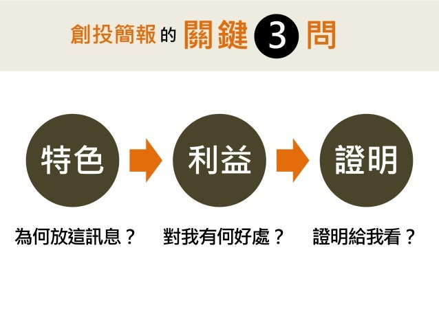 特色  利益  證明  問  3  關鍵  創投簡報  的  為何放這訊息?  對我有何好處?  證明給我看?