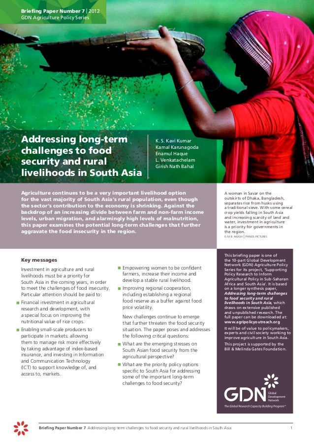 Briefing Paper Number 7 | 2012      GDN Agriculture Policy Series	 Addressing long-term                                   ...