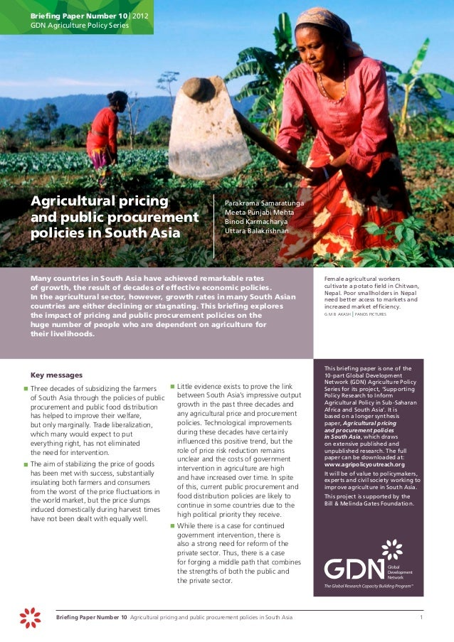 Briefing Paper Number 10 | 2012      GDN Agriculture Policy Series Agricultural pricing                                  ...