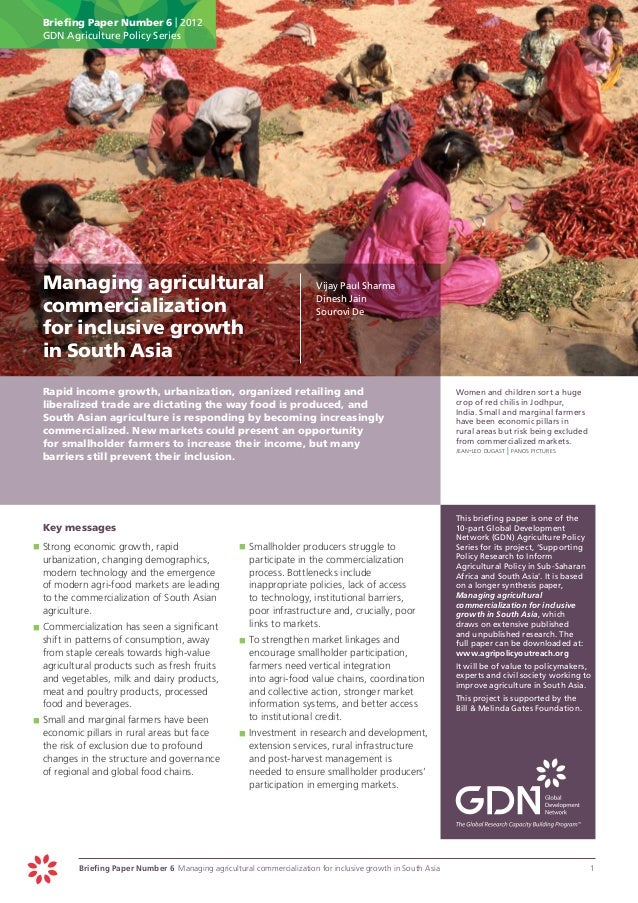 Briefing Paper Number 6 | 2012      GDN Agriculture Policy Series Managing agricultural                                  ...